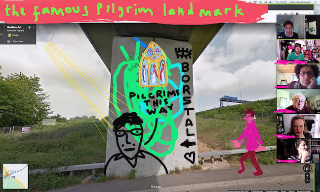 """Figure of John-Paul Flintoff, sketched as if walking beneath an underpass near Rochester, with heading """"The Famous Pilgrim Landmark"""""""