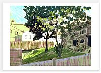Artist print, with white border. Illustration of a small urban green space in shade, on a slope, with bright sun above roofs and among leaves.