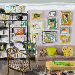 Digital drawing of interior in daylight. Wobbly line and faded colour. Nine pictures hang on a pale living room wall, behind sofa. Assorted objects on shelving. Elegant chair, bottom left.