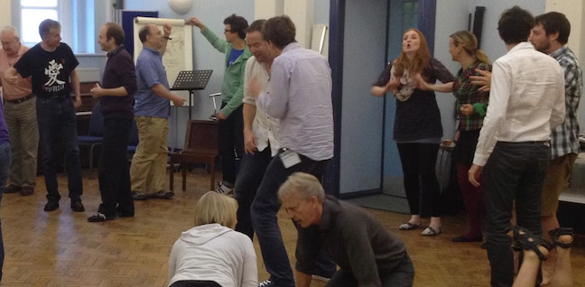 (JPF, centre, in lilac shirt) doing impro with others on Keith Johnstone's London course 2012